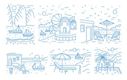Collection of summer landscapes with sea or ocean, mountains, sailing yachts and seaside resort drawn with contour lines on white background. Monochrome vector illustration in modern lineart style