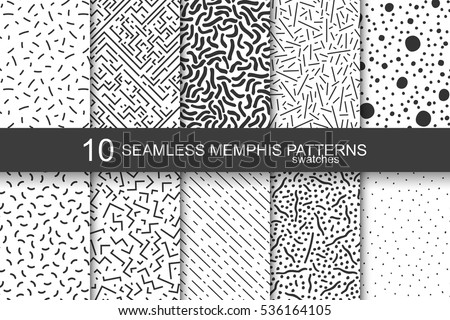 Collection of swatches memphis patterns - seamless. Retro fashion style 80-90s.