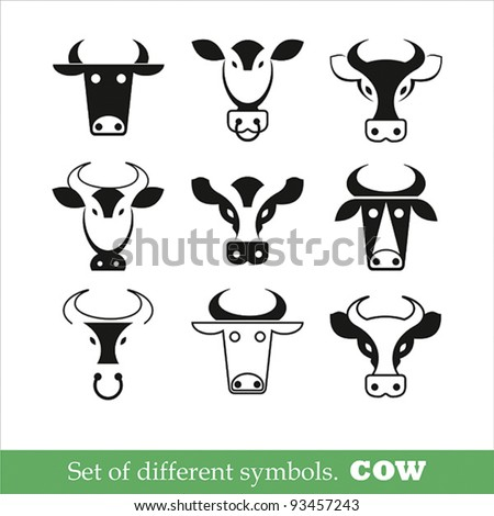 collection of symbols cow. Vector illustration. set of icons
