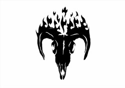 collection of symbols pentagram, satanic, flame, burning. for design elements, printing, apparel design