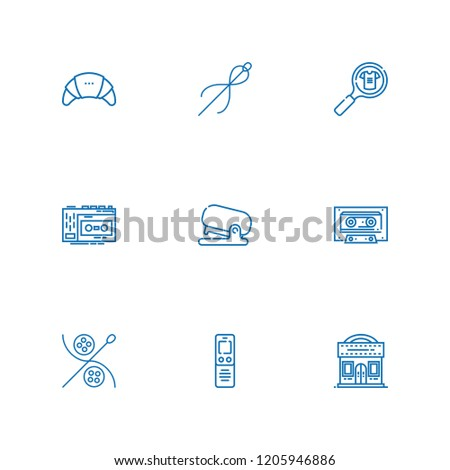 Collection of 9 tape outline icons include icons such as dictaphone, cassette, cinema, product, products, recorder, stapler