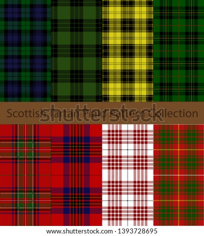 Collection of Tartan Plaid patterns. Traditional Scottish check textile backgrounds.