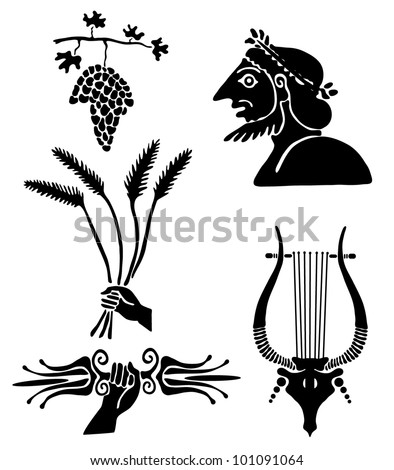 Collection of tattoos in the Greek style - stock vector