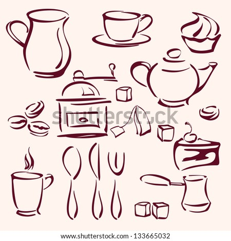 collection of tea coffee and cakes silhouettes vector llustration - stock vector