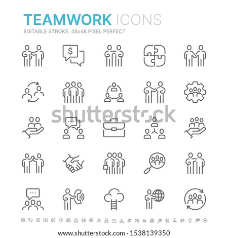 Collection of teamwork related line icons. 48x48 Pixel Perfect. Editable stroke