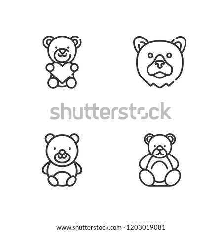 Collection of 4 ted outline icons include icons such as teddy bear
