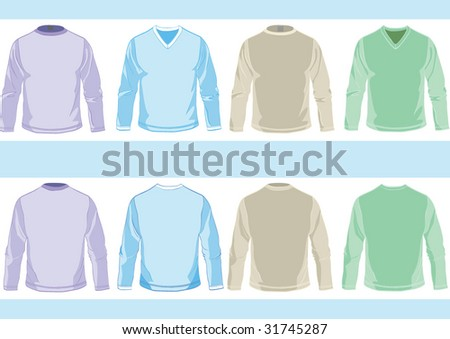 Collection of templates of long sleeve shirts with round and vee neck design