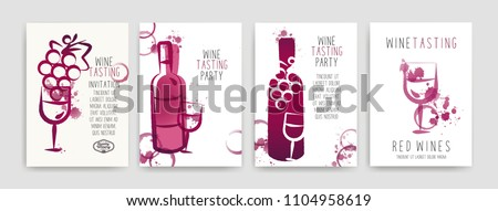 Collection of templates with wine designs. Brochures, posters, invitation cards, promotion banners, menus. Wine stains. CMYK colors. Vector illustration. Layered
