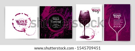 Collection of templates with wine designs.Wine glass illustration. Background texture and stains of red wine.Brochure, poster, invitation card, promotion banner, menu, list, cover. Wine stains.