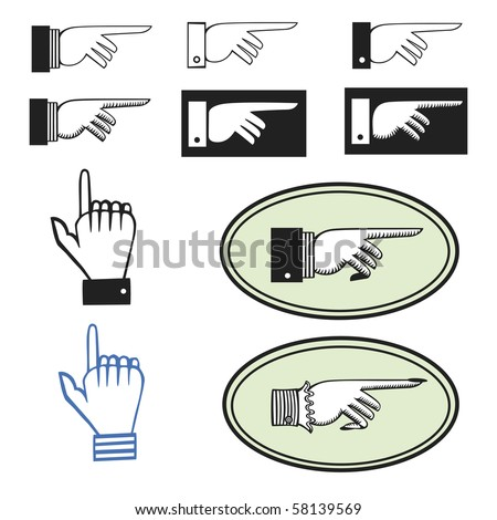 Collection of ten different pointing hands