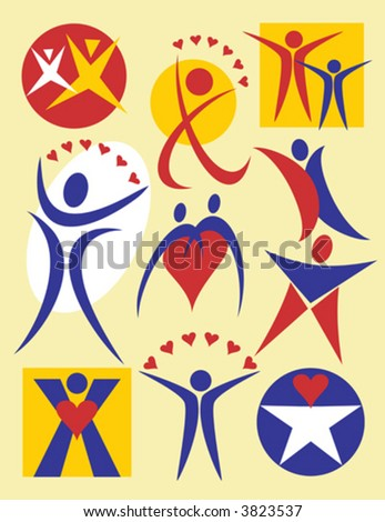 Collection #4 of ten symbolic vector illustrations of people.