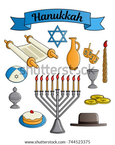 Collection of the Jewish holiday Hanukkah symbols. Traditional candlestick, candle, star of David, hat, donut, cup of wine, jug of oil, dreidel with Hebrew letters, Torah scroll, incense box. Vector Stok fotoğraf ©