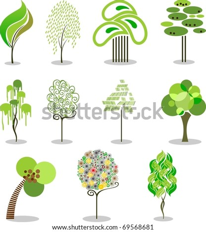 Collection of the stylized trees.