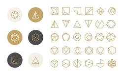 Collection of thin 30 icons and 6 stylish golden Logo.Linear design elements.Hexagons,Triangles,Squares,Circles.Trendy hipster icon,logo, logotypes,label,monogram.Vector illustration.Isolated on white