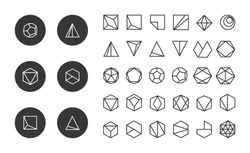 Collection of thin 30 icons,6 trendy black Logo.Linear design elements.Geometric icon,geometric pattern,geometric shape,label,sign,monogram,hexagons,triangles,squares,circles.Vector.Isolated on white