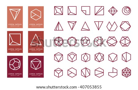 Collection of thin 30 icons,6 trendy marsla Logo.Linear design elements.Geometric icon,geometric pattern,geometric shape,label,sign,monogram,hexagons,triangles,squares,circles.Vector.Isolated on white
