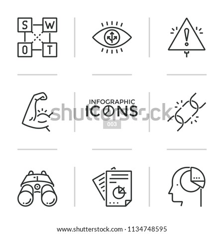 Collection of thin line icons or linear symbols - swot analysis, strength, business chain, strategic planning, modern thinking. Vector illustration for presentation, brochure, corporate website.
