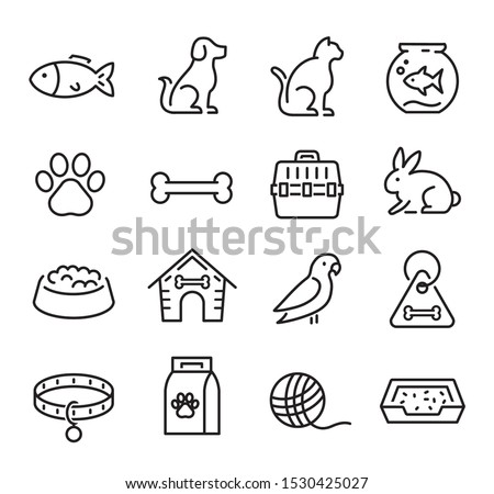 Collection of thin line icons representing animals, pets and veterinary healthcare