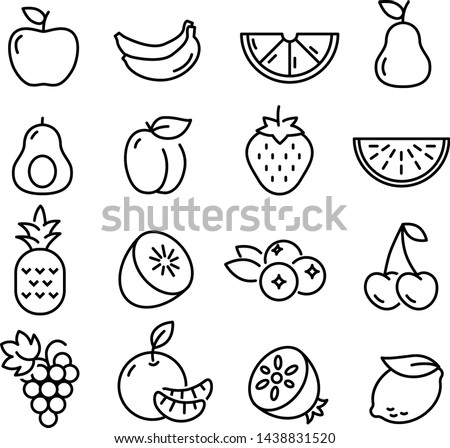 Collection of thin line icons representing fruit, healthy eating, healthy diet and healthy lifestyle