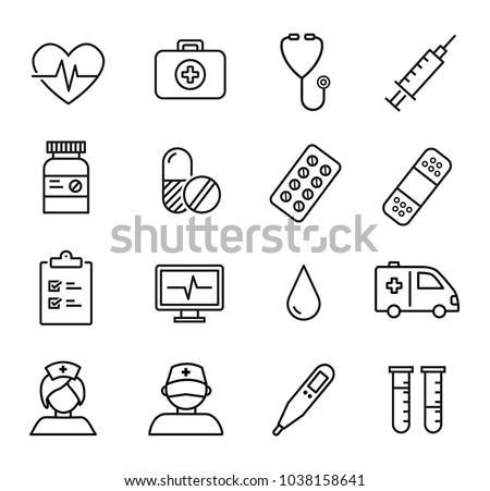 Collection of thin lines icons - can be used for any medical and healthcare topics.