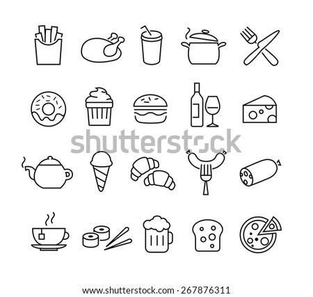 collection of thin lines icons