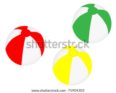 Collection of three different coloured beach balls, vector illustration