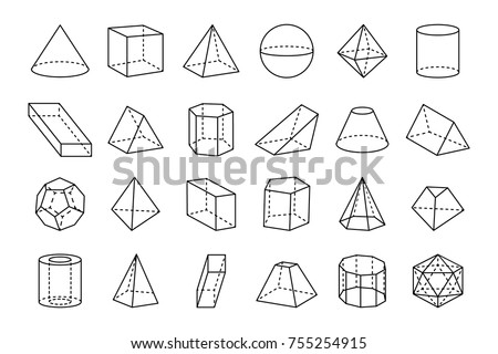 Collection of three dimensional geometric shapes, sketches of various forms, such as triangles and cubes on vector illustration isolated on white