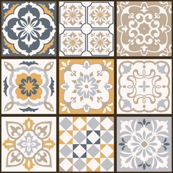 Collection of tiles in turkish style. Seamless colorful patchwork from Azulejo tiles. Portuguese and Spain decor. Islam, Arabic, Indian, Ottoman motif. Vector Hand drawn background