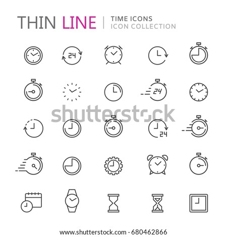 Collection of time and clock thin line icons