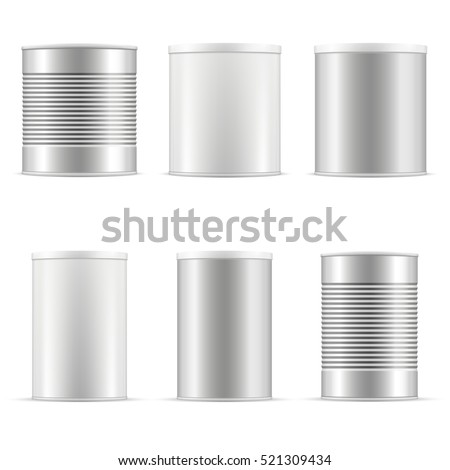 Collection of tin cans including white tin can and metal tin can. Different sizes of containers with plastic cap for baby powder milk, tea, coffee, cereal and other products. Vector packaging set.