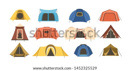 Collection of touristic and military tents of various types isolated on white background. Set of shelters for hiking, mountaineering, adventure travel, recreation. Flat cartoon vector illustration.