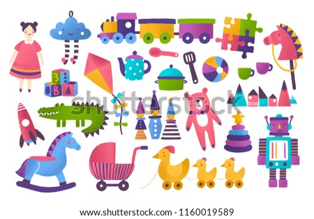 Collection of toys for child development and entertainment isolated on white background. Bundle of tools for kid's amusement and play. Bright colored vector illustration in flat cartoon style.