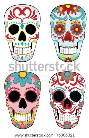 stock vector Collection of traditional mexican sugar skulls for the Day of