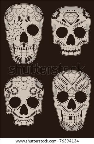 Collection of traditional mexican sugar skulls for the Day of the Dead or Dia de los Muertos.