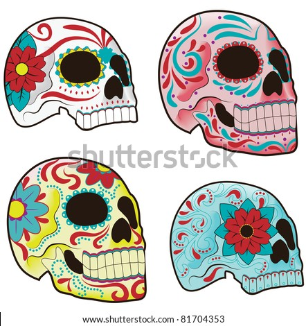 Collection of traditional mexican sugar skulls for the Day of the Dead or Dia de los Muertos
