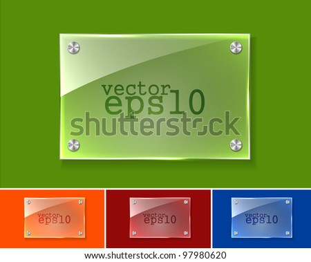 Collection of transparent glass banners design.