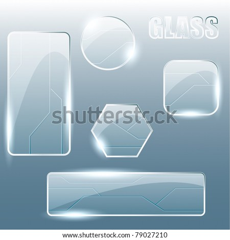 Collection of transparent glass banners (Eps10);