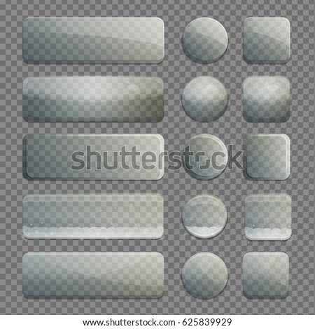 Collection of transparent isolated glass bubble app buttons with various shading and texture. UI editable design elements.