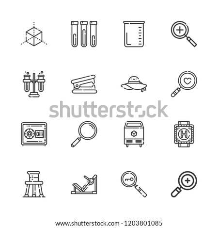 Collection of 16 transparent outline icons include icons such as beaker, zoom in, loupe, test tube, tubes, ice, pamela, cube, safebox, stapler remover, gym station, heliport