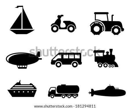 Collection of transport icons depicting a boat scooter tractor blimp van train liner truck and airplane in black silhouette