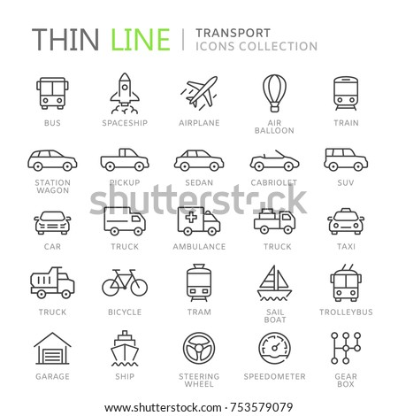 Collection of transport line icons. Vector eps8 - Shutterstock ID 753579079