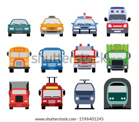Collection of transportation icons presenting different modes of transport on land. Set of front view flat icons of police car, ambulance car, fire department vehicle, taxi car, garbage collector, sch Stock foto ©