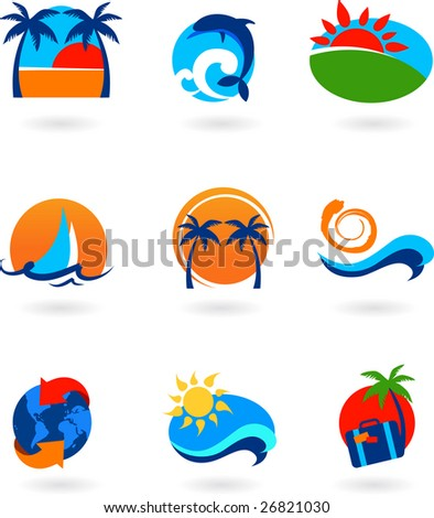 collection of travel icons