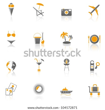 Collection of 16 travel, vacation icons - Part 1