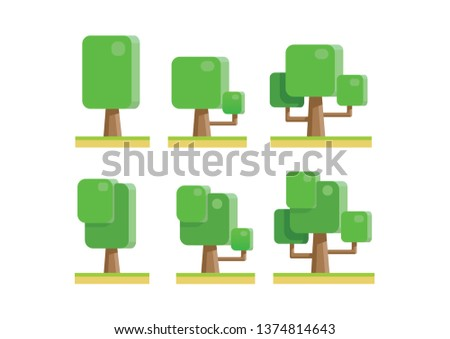 Collection of trees illustrations. Can be used to illustrate any nature or healthy lifestyle topic