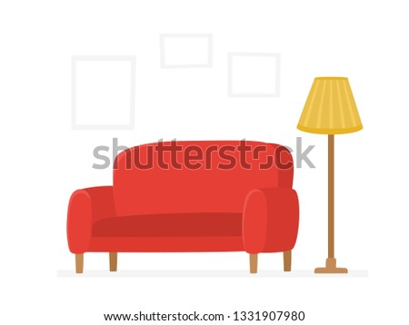 Collection of trendy and comfortable furniture decorations for home interior isolated on white background. Colorful cartoon flat vector illustration of red couches and lamp