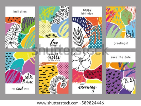 Collection of trendy creative cards with floral elements and different textures. Collage. Design for prints, posters, cards, etc. Vector.