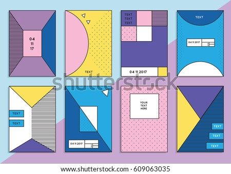 Collection of trendy hipster cards or banners with different colorful backgrounds in Memphis style, 80`s, with geometric elements. Design layout for your invitation, poster, flyer, brochure, cover