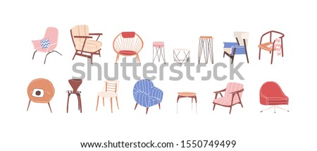 Collection of trendy scandinavian chairs isolated on white background. Comfortable armchair and stylish stool bundle. Set of simple and fashionable furniture elements. Vector illustration.