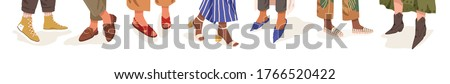 Collection of trendy shoes on diverse female legs vector flat illustration. Bundle of colorful boots on different woman foot isolated on white. Classy seasonal footwear in boho and casual style Photo stock ©